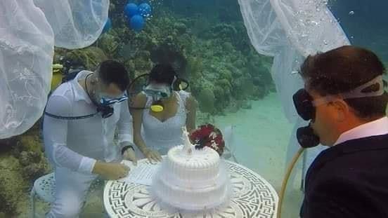 تقاليع الزفاف.. عقد زواج بفستان و بدلة باعماق البحر.. صور  اليوم السابع