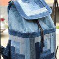 حقيبة جينز قديمة. حقيبة أنيقة مصنوعة من الجينز القديم. صورة للحقائب اليدوية