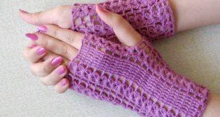 أفنان التريكو والكروشيه : قفاز كروشيه بدون اصابع Gloves without fingers